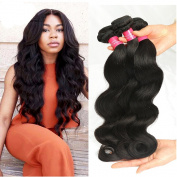 Longjia Hair Peruvian Body Wave Hair 3 Bundles 100% Unprocessed Virgin Human Hair Extensions Natural Black 95-100g/pc