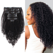 AmazingBeauty 8A Virgin Remy Human Kinkys Clip in Curly Hair Extensions for Women 3C and 4A type 120 gramme 50cm for Bantu Knotted, Twisted Out