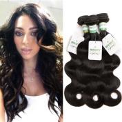 Missivy Hair 3 Bundles Peruvian Virgin Hair Body Wave Unprocessed Human Hair Weave, Natural Colour