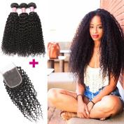 Beauty Princess Brazilian Virgin Curly 3 bundles with Closure 8A Unprocessed Vigin Human Hair Weave Bundles With 4×10cm Free Part Lace Closure Natural Colour