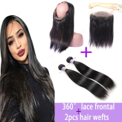 Kapelli Hair 360 degree Lace Band Frontal Closure With 9A Unprocessed Straight Brazilian Virgin Human Hair bundles Weft with Natural Hairline & Adjustable Strap