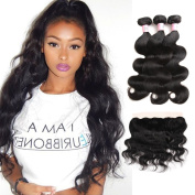 Racily Hair Brazilian Body Wave Hair Bundles with Frontal Colour 1B 13 plus 10cm Ear to Ear Lace Frontal Closure