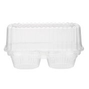 2 Compartment Hinged Clear Cupcake / Muffin Takeout Container by MT Products -