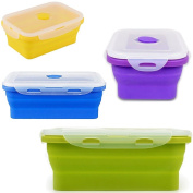 Cook@Home Silicone Collapsible and Stackable Food Storage Containers, Lunch Bento Box, Freezer & Oven Safe