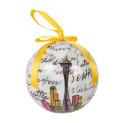 Seattle Christmas Skyline Space Needle Script Ornament