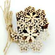 Alamana 10 Pcs Hollow Wooden Snowflake Hanging Pendants Christmas Tree Decor Ornament