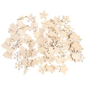 Jili Online 100x Christmas Tree Ornaments Wooden Hanging Snowflake Xmas Decorations