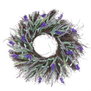 60cm Blooming Purple Artificial Lavender and Heather on a Spiral Vine Wreath