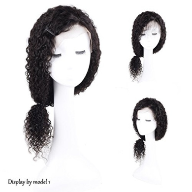 Auspiciouswig Curly Lace Front Human Hair Wigs Brazilian Virgin Human Hair Wigs with Baby Hair for Black Women (41cm Natural Colour)