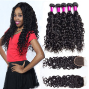 Brazilian Virgin Hair Water Wave 4 Bundles with 4x 4 lace Closure Uprocessed Wet and Wavy Human Hair Extensions 10 10 10 10 and 20cm