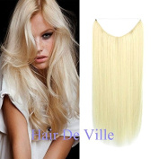 Halo Miracle Invisible Wire Flip In Secret Hair Extensions 100g 60cm 100% Remy Premium Grade Human Hair # 60 Bleach Blonde Colour