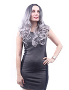 Fashion Two Tone Long Wavy Ombre Wigs for Black Womens Black to Grey Heat Resistant Fibre Party Wigs