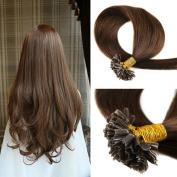HAIQUAN 60cm Medium Brown 0.5g/Strand Peruvian Virgin Hair U Tip Hair Extensions 7a Grade Human Hair Extensions 50 Strand/Package Keratin Thick