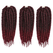 DSOAR 30cm Havana Mambo Twist Synthetic Crochet Braids Hair Extension,3pcs/pack,Wine Red Ombre Colour
