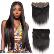 Ms Taj Brazilian Straight Hair 3 Bundles with 33cm x 10cm Ear to Ear Lace Frontal Closure Grade 7A Unprocessed Straight Weave Virgin Human Hair Extensions Natural Colour