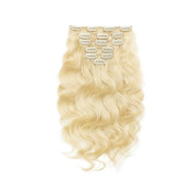 SG Hair 41cm Remy Human Hair Clip in Extensions for Women Lightest Blonde(#613) Body Wavy 7Pieces 70grams70ml