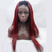Two Tone Ombre Wigs Long Straight Black Red Hair Synthetic Wig For Black Women Heat Resistant Natural Wig