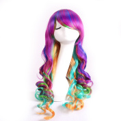 Le Fu Li Beauty Star 70cm Long Rainbow Big Wavy Ombre Spring Bouquet Cosplay Party Wig Harajuku Style Lolita Spiral Colourful Heat Resistant Fibre Synthetic Wig with Wig