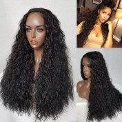 QD-Tizer 180 Density Loose Curly Black Colour Synthetic Lace Front Wig for Beauty Women 24