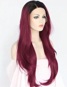 Natural Straight Dark Roots Lace Front Wigs Synthetic for Women 2 Tones Ombre Burgundy Synthetic Wig Glueless Heat Resistant Fibre Hair Half Hand Tied 60cm
