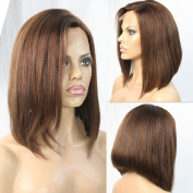 WOB Hair 150% Density Chocolate colour Bob Wig Stock Lace Front Wig Perfect Cut Layer 30cm 4#