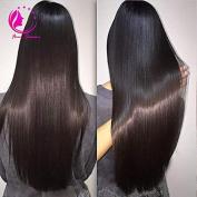 QIRUI HAIR Brazilian Virgin Hair 100% Remy Human Hair U Part Slik Straight Wigs For Black Women Middle Part 130% Density Natural Black Colour 46cm