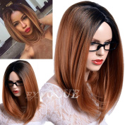 Exvogue Ombre Brown Bob Wig with Blck Roots Silk Straight 2 Tones Fibre Hair Synthetic Wigs for Women
