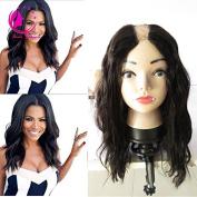 QIRUI HAIR 7A U Part Wig 100% Brazilian Remy Human Hair Body Wavy Free Part Natural Black Colour 130% Density for Women 36cm