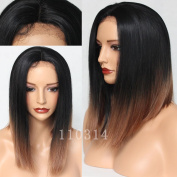 Maycaur Black Brown Colour Short Cut Bob Wigs Synthetic Lace Front Wig With Natural Hairline Medium Size Hair Wigs for Women 36cm
