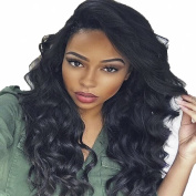 MeiRun 180% Density Long Wavy Deep Wave For Women Full Lace Human Hair Wig With Baby Hair Natural Black Colour