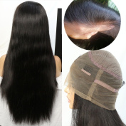 """WOB Hair Silk Straight 360 Lace Wig 60cm x 10cm X2"""" Lace Around Wig 150% Density High Ponytail Most Comfortable Parting Anywhere Human Hair Wig 46cm Natural Colour"""