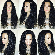 DLW Hair Brazilian Curly Human Hair Lace Front Wigs 130% Density Deep Curly Wig with Baby Hair for Black Women Natural Colour 46cm