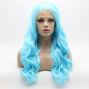 Lushy Wavy Long Blue Wig Half Hand Tied Heat Friendly Synthetic Lace Front Wig