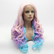 Lushy Wavy Long Pink Light Purple Blue Mix Wig Full Density Half Hand Tied Heat Resistant Synthetic Lace Front Wig