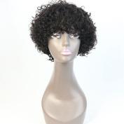 WOB Hair Last Long Time Curly Glueless Machine Made Lace Wig 8A Grade 150% Density Brazilian Virgin Human Hair Short Hair Wigs 20cm Natural Colour