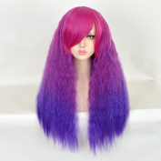 SiYi Long Curly Wavy Wig Afro Kinky Curly Ombre Synthetic Heat Resistant Hair Wigs Full Purple Pink Costume Wigs for Women Girls