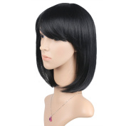 Whalesoon Straight Short Hair Bob Wigs 30cm with Flat Bangs Cosplay Synthetic Wigs for Women Natural As Real Hair(Black)