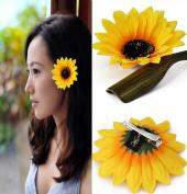 2Pcs 9.9cm Sunflower Hair Alligator Clips Hair Accessories for Party Beach Vacation Wedding Bridal Barrettes
