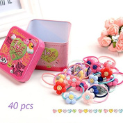 J-Beauty Baby Kids Girl Colourful Flower Hair Tie Bands Rope Clip 40 Pcs In One Metal Box