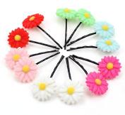 12Pcs Cute Daisy Flowers Bobby Pins Hairpin Random Colour