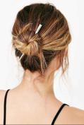 FASCHI Gold Silver Long Metal Hair Stick Bar Chopsticks Metal Hair Pin Set, Geometric Pierced Barrette Hair Fork Clip Scarf Pin Brooch Hairpin Ponytail Holder Updo Bun Maker Tool