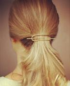 FASCHI 2Pc Gold Silver Curve Cuff Hollow Hoop Metal Hair Pin Set, Geometric Pierced Bar Barrette Hair Fork Stick Clip Scarf Pin Brooch Hairpin Ponytail Holder Updo Bun Maker Tool