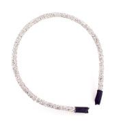 Sherryshine Rhinestone and Crystal Plastic Hairband Hair Hoop Headband for Women,White Colour