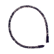 Sherryshine Rhinestone and Crystal Plastic Hairband Hair Hoop Headband for Women,Black Colour