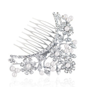 Yilanair Crystal Pearls Hair Comb Party Hair Jewellery