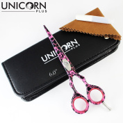[ Limited Edition ] Pink & Black Flower Salon Barber Hair Cutting Scissors 15cm - 1 Straight Edge Hairdressing Scissor, Come in BOUNS Leather Scissors Case By Unicorn Plus