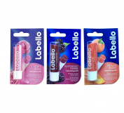 Labello Soft Rose, Labello Blackberry Shine, Labello Peach Shine Lip Balm Bundle