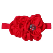 RareLove Baby Girls Headband Red Ribbon Flower with Rhinestone Hair Bands Accessories