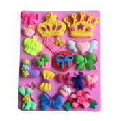 LYNCH Crown And Butterfly Silicone 3D Mould Bakeware Cake Decorating Fondant Soap Mould Pink