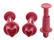 Lurch Germany Heart Shaped Plunger Cutters Set of 3, Ruby Red